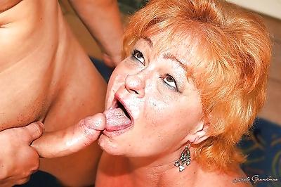 Redhead fatty granny gets..