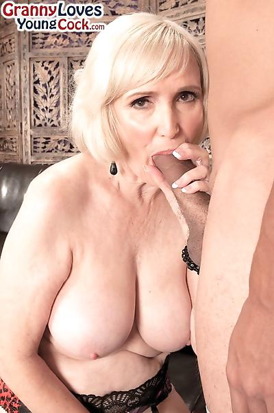 Energizing blonde granny..