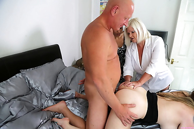 Horny old woman helps a..
