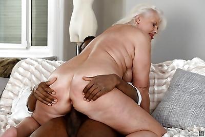 Fat granny Judi banging big..
