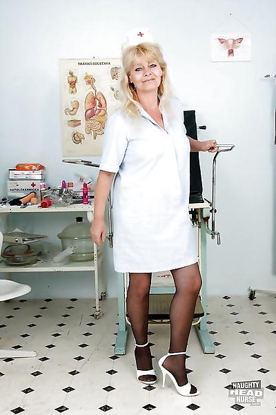 Bawdy granny in nurse..