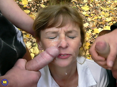 Mature lady gets on her..
