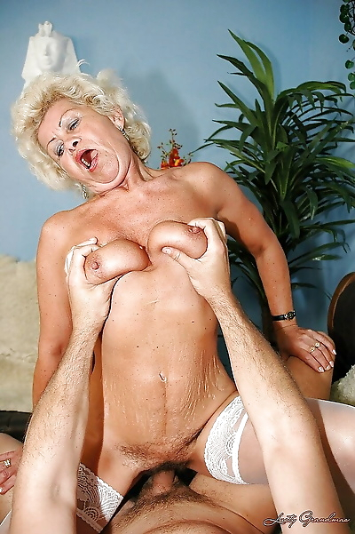 Slutty granny in stockings..