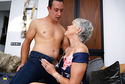 Horny grandmother with grey..