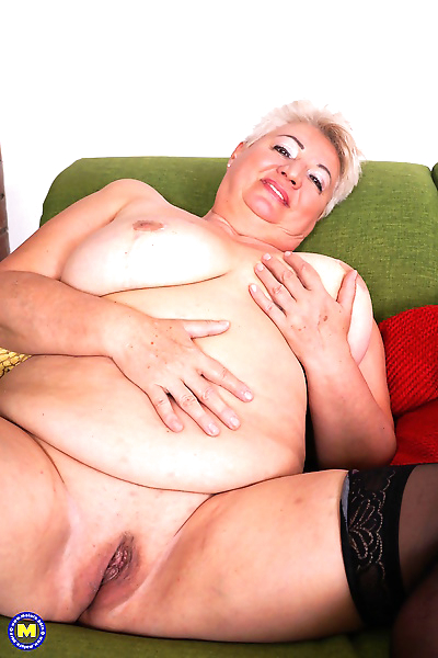 Fat grandmother strips down..