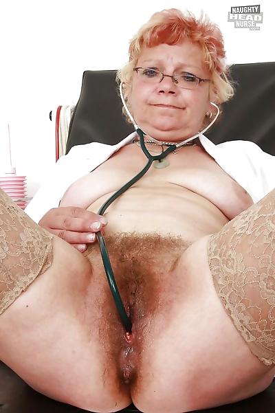 Naughty granny in stockings..