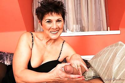 Horny granny in stockings..
