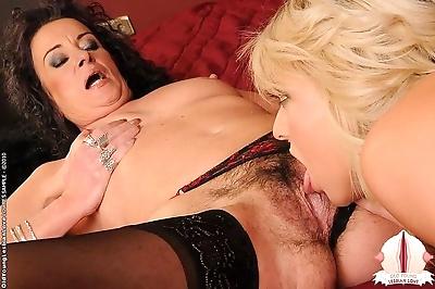 Hairy mom in black stockings..