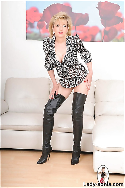 Leather boots and panties..