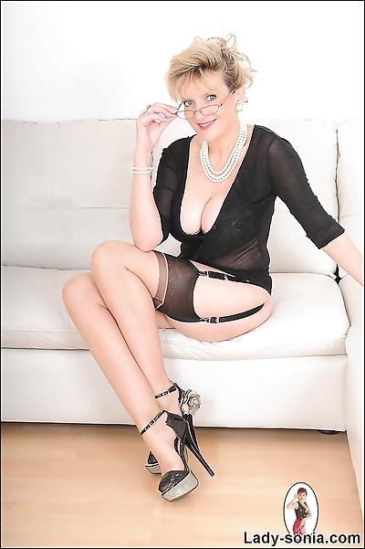 Busty stockings stunning..