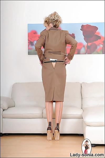 Hot nylons mature secretary..
