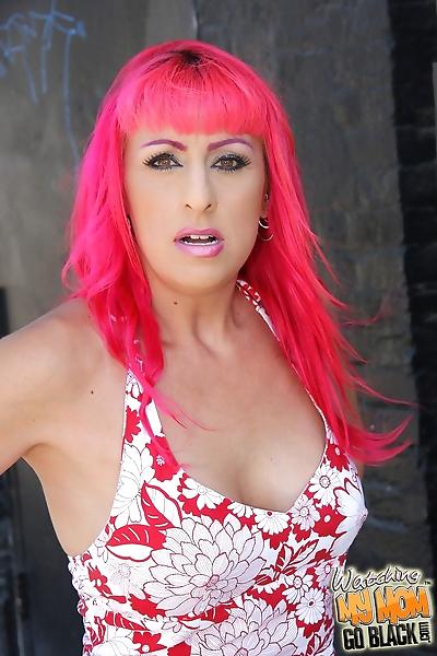 Pink-haired MILF Raven Black..