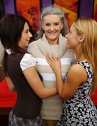 Grandmother with grey hair has a lesbian 3some with 2 teen girls