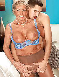 Horny granny Sandra Ann seducing younger guy in crotchless pantyhose