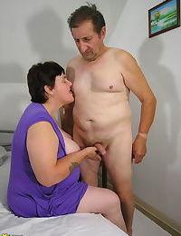 Big mama enjoying two old cocks - part 626