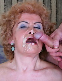 Curly granny loves fresh cum on her face - part 5200