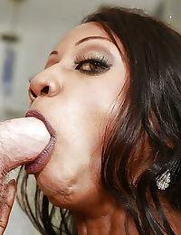 Mature black woman Diamond Jackson deepthroated by white cock