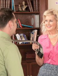 Older blonde lady Marina Johnson hikes her skirt to seduce a younger lover