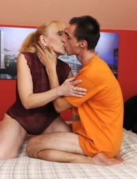 Horny granny sports a creampie after banging another horny boy from the hood