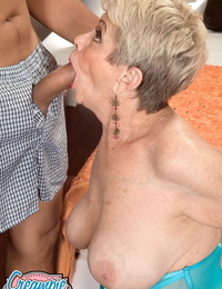 Short haired grandmother Lin Boyde shows off her creampied twat after fucking