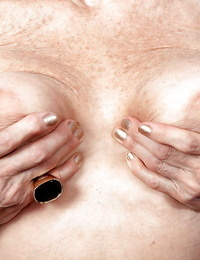 Mature with saggy tits Hattie appears naked and horny as fuck